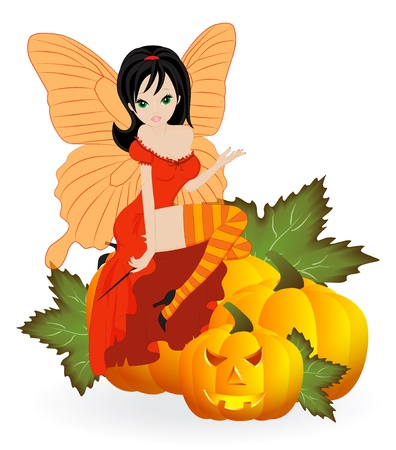 Autumn Fairy in the orange dress is sitting on a pumpkin Vector