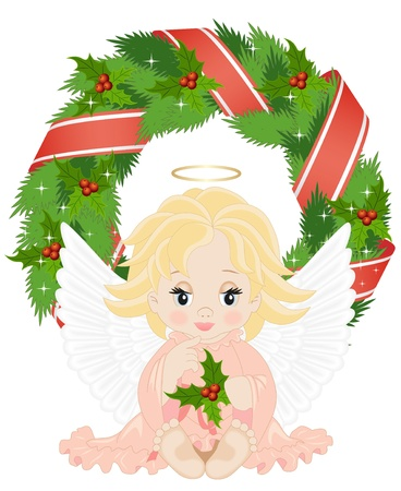 angel sitting in front of a Christmas wreath isolated on a white background Vector