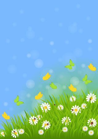 easter background: spring background with green grass, butterflies and ladybugs