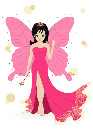 butterfly  angel: magical fairy in a pink dress with a magic wand
