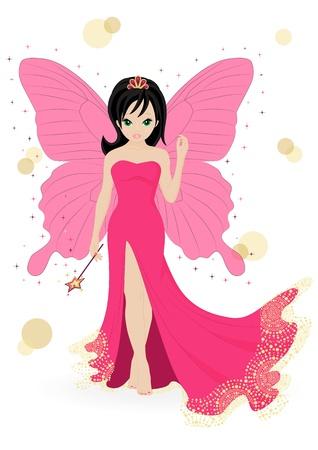 fee zauberstab: magische Fee in einem rosa Kleid mit einem Zauberstab
