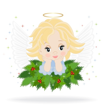 angel on spruce branches isolated on white background Vector