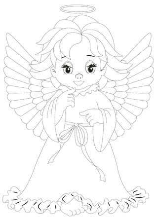 angel isolated on white background Coloring page Vector
