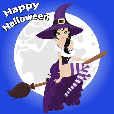 greeting card for Halloween with a beautiful witch on a background of the moon Vector