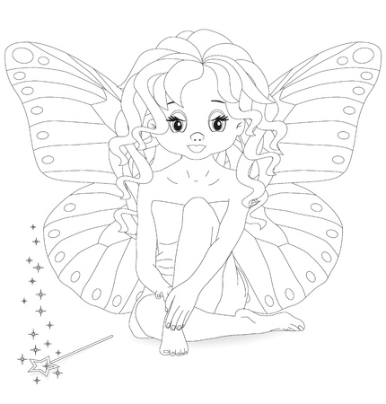 magical fairy with a magic wand Coloring page Vector