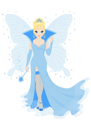 magical fairy in a blue dress with a magic wand Vector