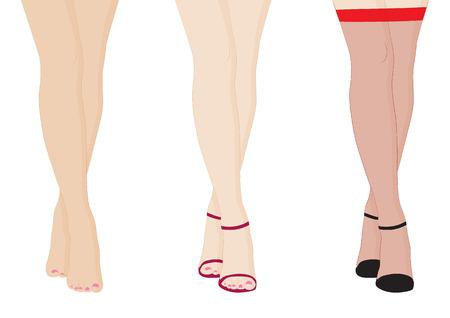piernas de mujer: piernas femeninas descalzos y zapatos aislados en el fondo blanco