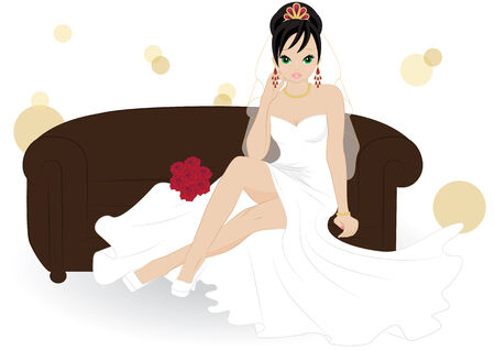 bride cartoon: girl in a white dress sitting on a brown sofa Illustration