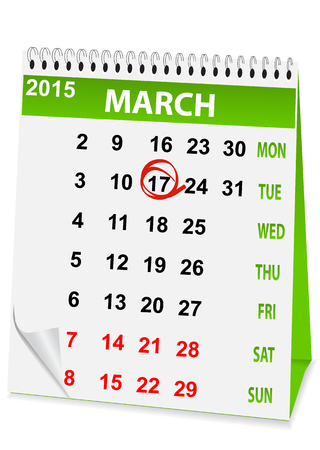 icon in the form of a calendar for  St Patricks Day Vector