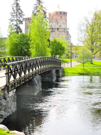 the bridge across the river to an ancient castle