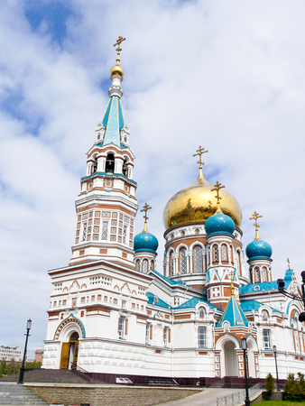 the believer: Church with the Golden domes against the sky