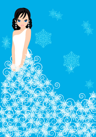 girl snow Queen in a dress made of snowflakes on blue background Illustration