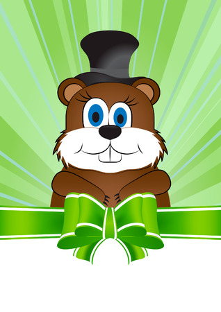 Greeting card on Groundhog day with the image of the animal Groundhog.