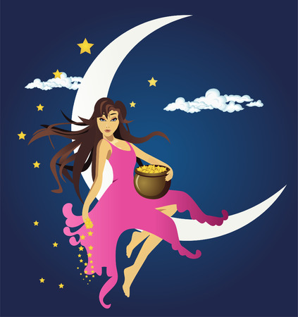 Fairy sitting on the moon and spreading stars Vector