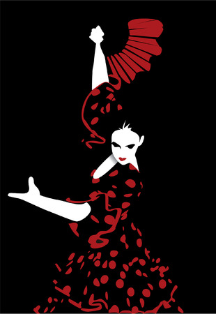 one woman only: flamenco dancer Illustration