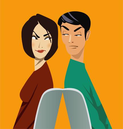 incertezza: uomo e donna seduta looking back to back sospettosamente a vicenda