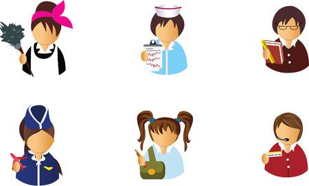 nurse cap: Icone avatar Vettoriali