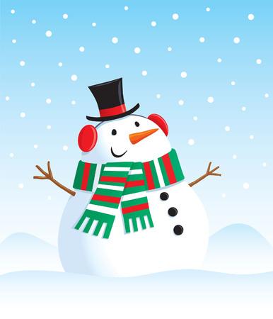 シルクハットと雪の中の雪だるま