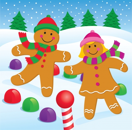 gingerbread: Gingerbread Boy and Girl in the Snow Illustration