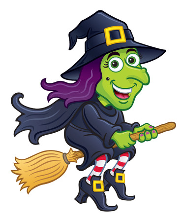Witch Riding Her Broom Vector