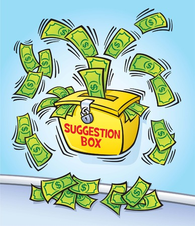 Suggestion Box with Cash Bursting and Flying Out  Illustration