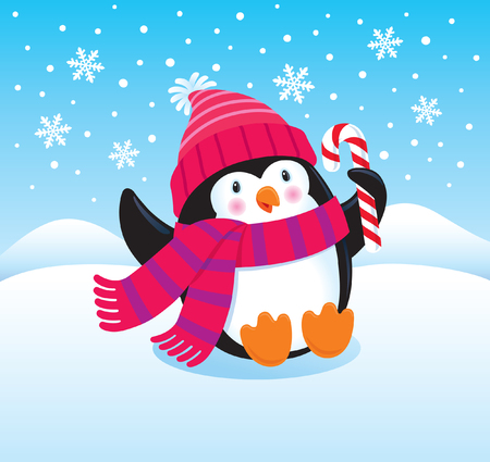 Cute and Happy Penguin Holding a Candy Cane Imagens - 24231139