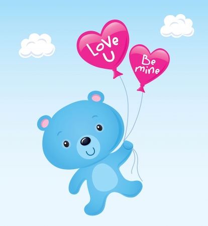 valentine s day teddy bear: Cute Blue Valentine s Bear