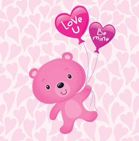 valentine s day teddy bear: Pink Valentine s Bear Floating with Balloons