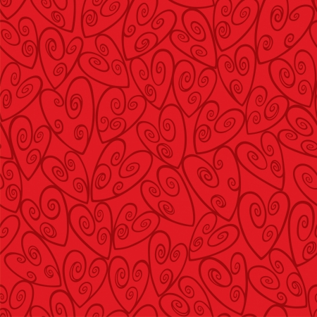 Red Swirl Heart Seamless Pattern