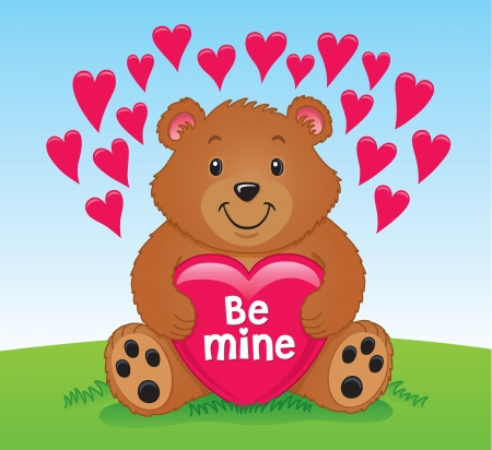 Valentine s Day Bear Holding a Heart