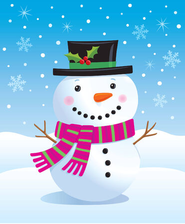 Cute Snowman in Top Hat and Scarf