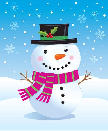 Leuke Sneeuwman in Top Hat en Sjaal Stock Illustratie
