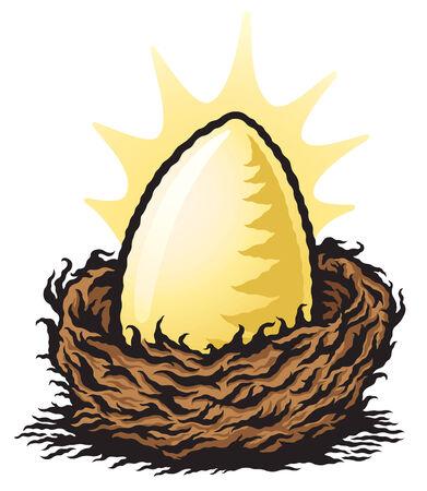 Golden Nest Egg Illustration