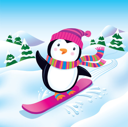 Snowboarding Penguin on a Snowy Slope