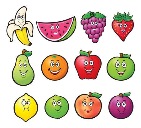 Twelve Cartoon Fruit Characters Çizim