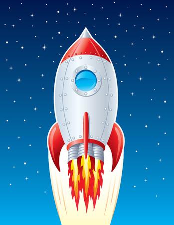 공간을 통한 로켓 우주선 발파 일러스트