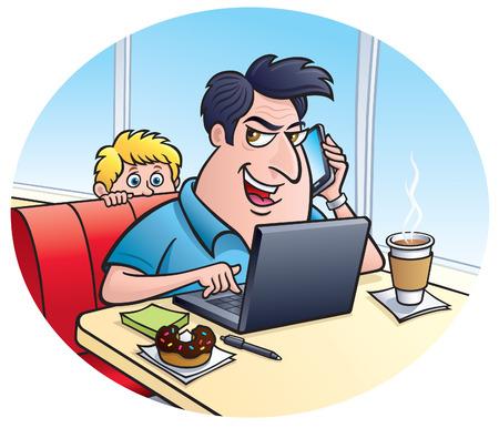 Con Uomo Su Un Computer Portatile comunica su un telefono Archivio Fotografico - 28526560