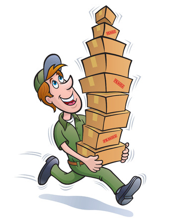 Delivery Guy with a Stack of Packages