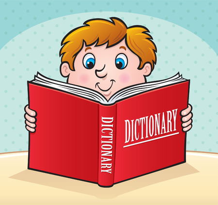 smart boy: Kid Reading A Large Red Dictionary