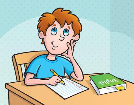 Kid Deciding What To Write 矢量图像