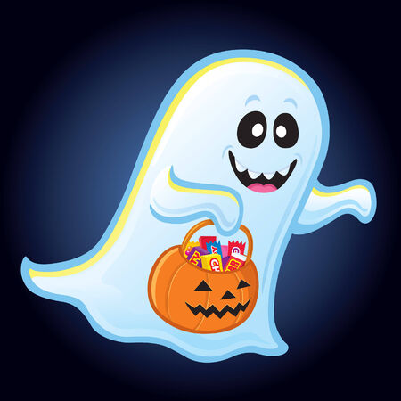 Ghost with Trick or Treat Pumpkin Pail Illustration
