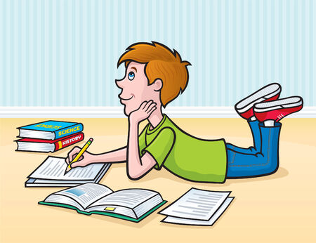 Boy Working on Homework on the Floor Stock Vector - 35031579