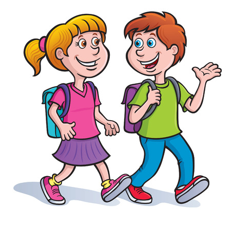 Girl and Boy Walking with Backpacks