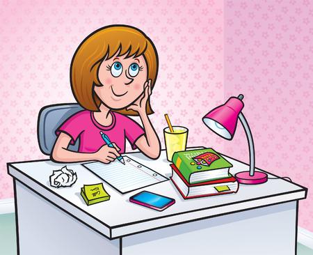 deberes: Muchacha que trabaja en una tarea