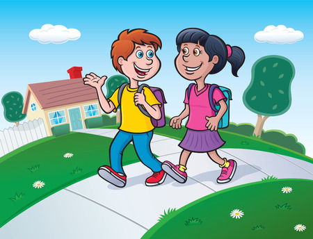 Boy and Girl Walking to School with Backpacks
