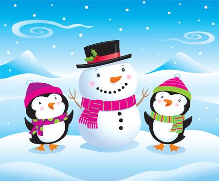 Cute Baby Penguins Beside A Snowman