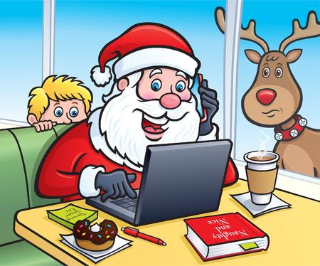Santa at a Coffe Shop on his Laptop Computer Illustration