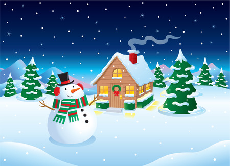 Snow Covered Cabin and Snowman