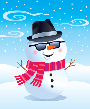 Cool Snowman in Sunglasses and Fedora Ilustracja