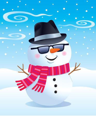 fedora: Cool Snowman in Sunglasses and Fedora Illustration